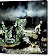 A United States Gun Crew Fire Illumination Rounds At Forward Operating Base Hadrian Acrylic Print