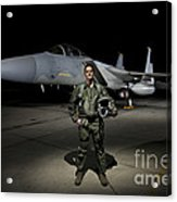 A U.s. Air Force Pilot Stands In Front Acrylic Print