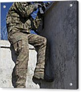 A U.s. Soldier Provides Security At An Acrylic Print