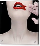 A Vampire Wiping Blood From Her Mouth Acrylic Print