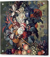 A Vase Of Flowers With Fruit Acrylic Print