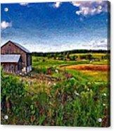 A Verdant Land Impasto Version Acrylic Print