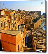 A View Of Valletta's Waterfront Acrylic Print