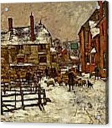 A Village In The Snow Acrylic Print