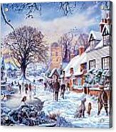 A Village In Winter Acrylic Print