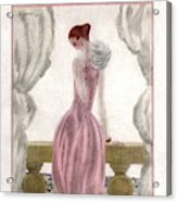 A Vogue Cover Of A Woman Wearing A Pink Dress Acrylic Print