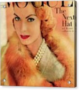 A Vogue Cover Of Mary Mclaughlin Wearing A Fox Acrylic Print