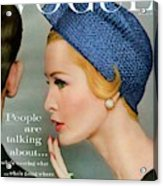 A Vogue Cover Of Sarah Thom Wearing A Blue Hat Acrylic Print
