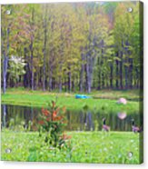A Waddle In The Meadow - Oil Painting    Acrylic Print