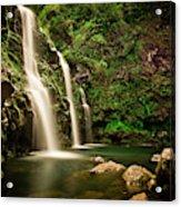 A Waterfall In Hana, Maui Acrylic Print