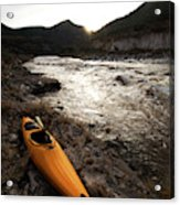A Whitewater Kayak Rests On The Shore Acrylic Print