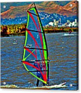 a WindSurfer's Gr8 Ride Acrylic Print by Joseph Coulombe