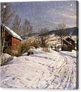 A Winter Landscape Lillehammer Acrylic Print by Peder Monsted