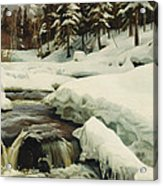 A Winter Landscape With A Mountain Torrent Acrylic Print