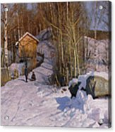 A Winter Landscape With Children Sledging Acrylic Print by Peder Monsted