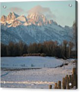 A Winter Scene Of A Snowy Field, Fence Acrylic Print