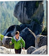 A Woman Hiking High In The Mountains Acrylic Print