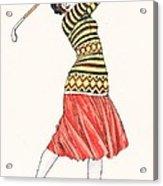 A Woman In Full Swing Playing Golf Acrylic Print