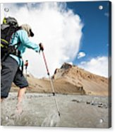 A Woman Is Crossing A River, Spiti Acrylic Print