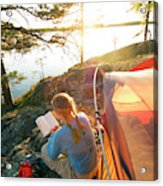 A Woman Is Resting In A Tent On One Acrylic Print