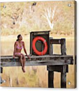 A Woman Is Sitting By A Lake, Mount Acrylic Print