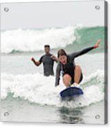 A Woman Learns To Surf Acrylic Print