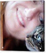 A Woman Lovingly Looking At Her Cat Acrylic Print