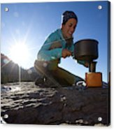 A Woman Making Coffee With Portable Acrylic Print