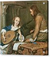 A Woman Playing The Theorbo-lute And A Cavalier Acrylic Print by Gerard Terborch