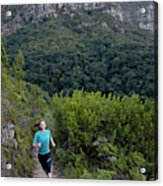 A Woman Running On One Of The Many Acrylic Print