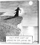 A Woman Runs In The Dark Toward A Cliff Acrylic Print