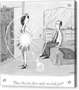 A Woman Shows Her Husband A Shining Lens Flare Acrylic Print
