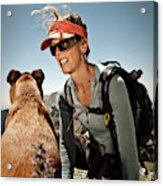 A Woman  Talks To Her Dog While Taking Acrylic Print