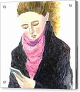 A Woman Texting W Cell Phone Acrylic Print