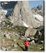 A Woman Trail Running In The Cirque Acrylic Print