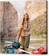 A Woman Unloads Gear From Her Canoe Acrylic Print
