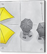 A Yellow Umbrella With A Pacman Mouth Acrylic Print