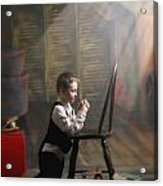 A Young Boy Praying With A Light Beam Acrylic Print