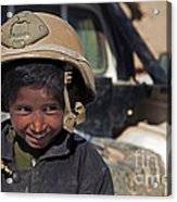 A Young Boy Wears A Coalition Force Acrylic Print