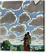 A Young Couple And Their Dogs On A Hilltop Acrylic Print