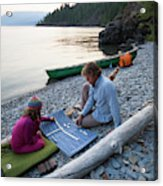 A Young Girl And Her Dad Enjoying Camp Acrylic Print