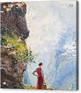 A Young Girl By A Fjord Acrylic Print