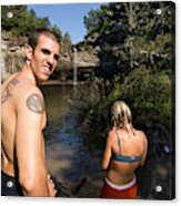 A Young Man And Woman Pause Acrylic Print
