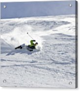 A Young Man Falls While Skiing Acrylic Print