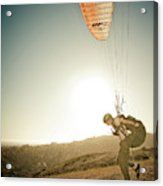 A Young Man Launches His Paraglider Acrylic Print