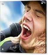 A Young Man Sings To A Microphone Acrylic Print