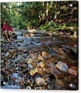 A Young Man Watches A Shallow River Acrylic Print
