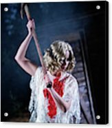 A Young Woman Holds An Axe Overhead Acrylic Print