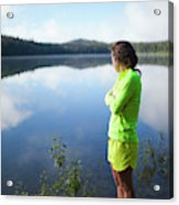 A Young Woman Looks Out Over Unna Lake Acrylic Print