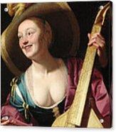 A Young Woman Playing A Viola Da Gamba Acrylic Print